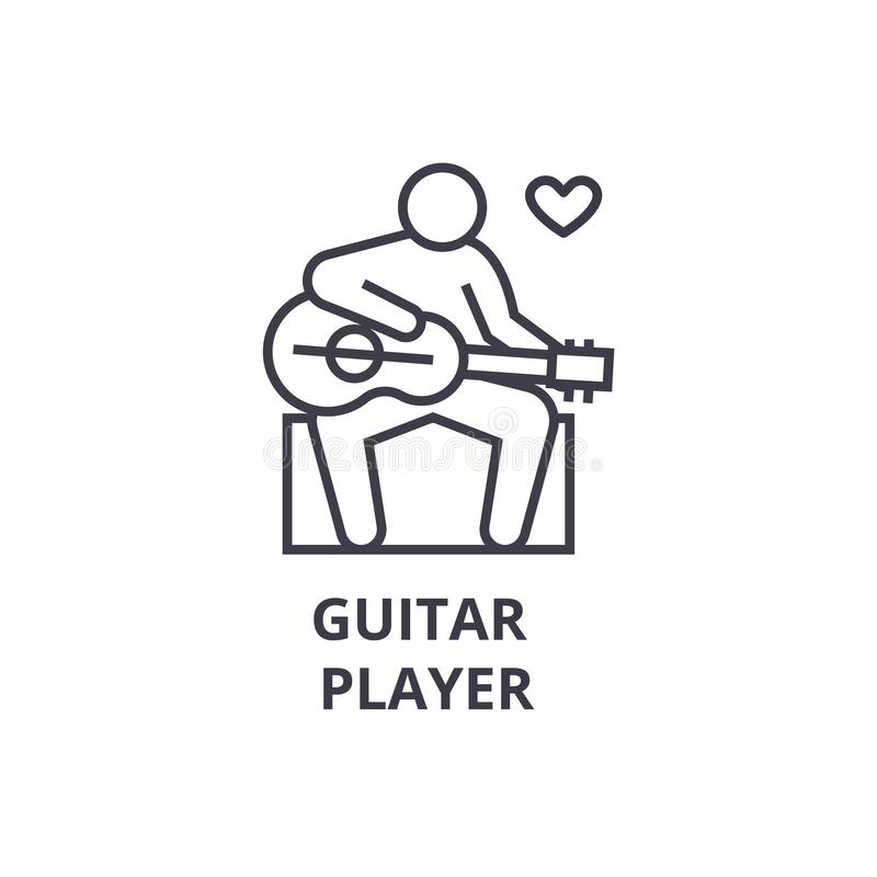 Dun de lijnpictogram van de gitaarspeler, teken, symbool, illustation, lineair concept, vector royalty-vrije illustratie