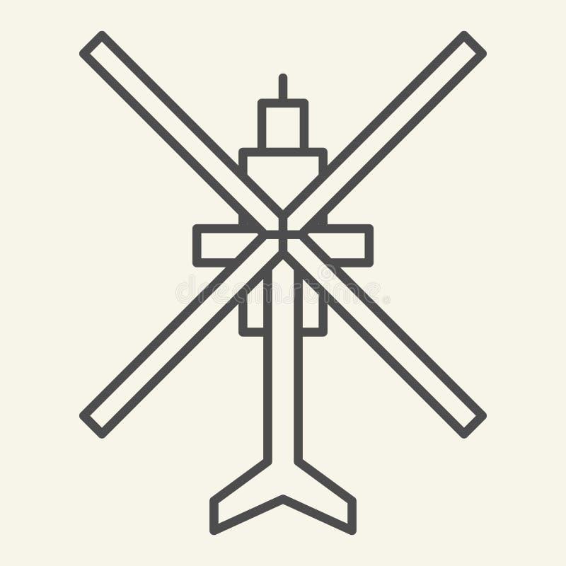 Dun de lijnpictogram van de helikopter hoogste mening Luchtvaart vectordieillustratie op wit wordt geïsoleerd De stijlontwerp van stock illustratie
