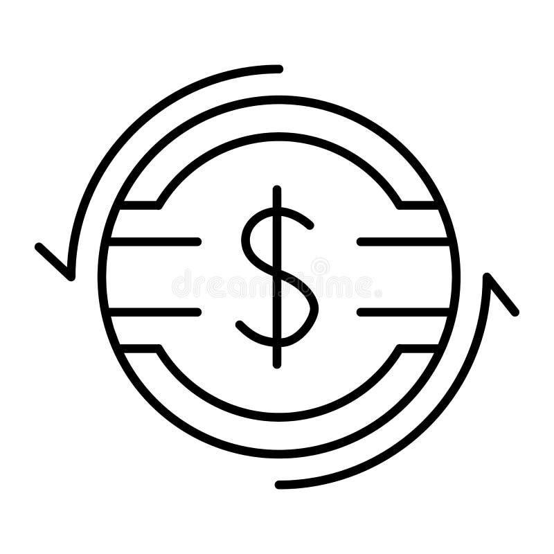 Dun de lijnpictogram van het dollartarief Dollarmuntstuk met pijlen vectordieillustratie op wit wordt geïsoleerd Het overzichtsst vector illustratie