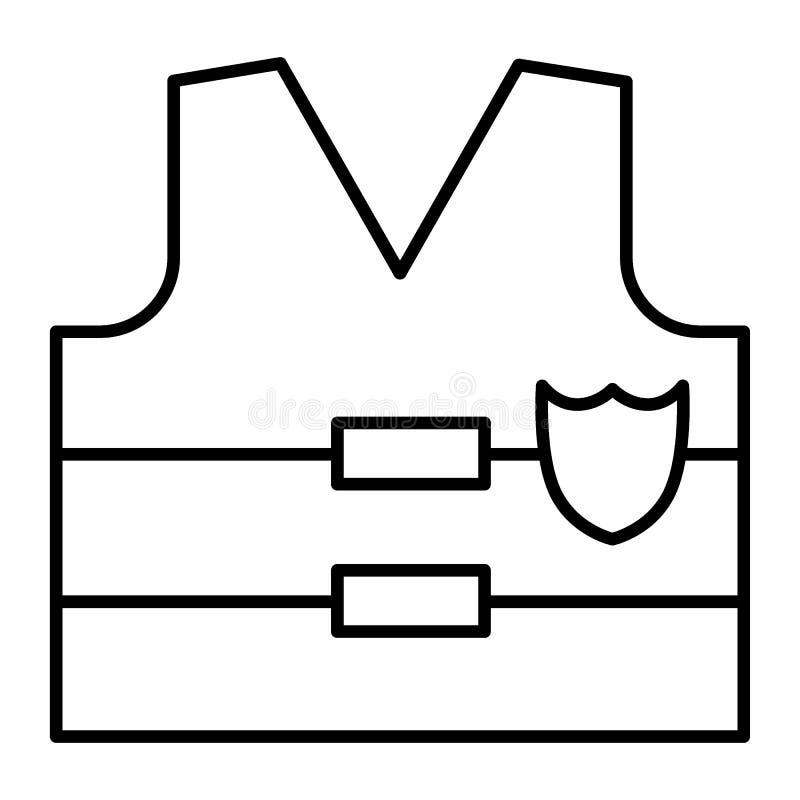 Dun de lijnpictogram van het kogelbewijs Het jasjeillustratie van het politieluchtafweergeschut op wit wordt geïsoleerd dat De st vector illustratie
