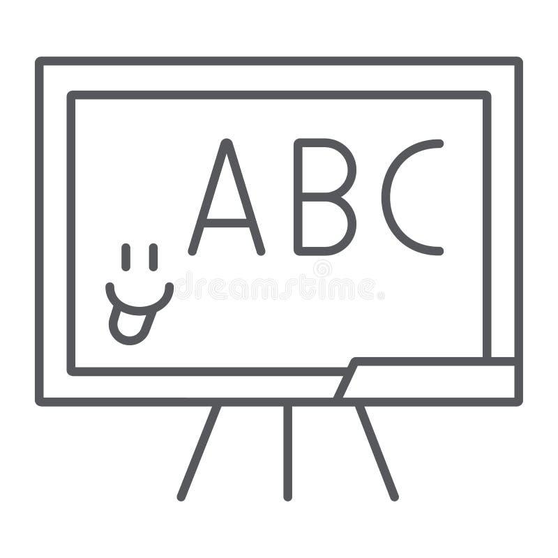 Dun de lijnpictogram van het schoolbord, school en klaslokaal, het onderwijzen raadsteken, vectorafbeeldingen, een lineair patroo royalty-vrije illustratie