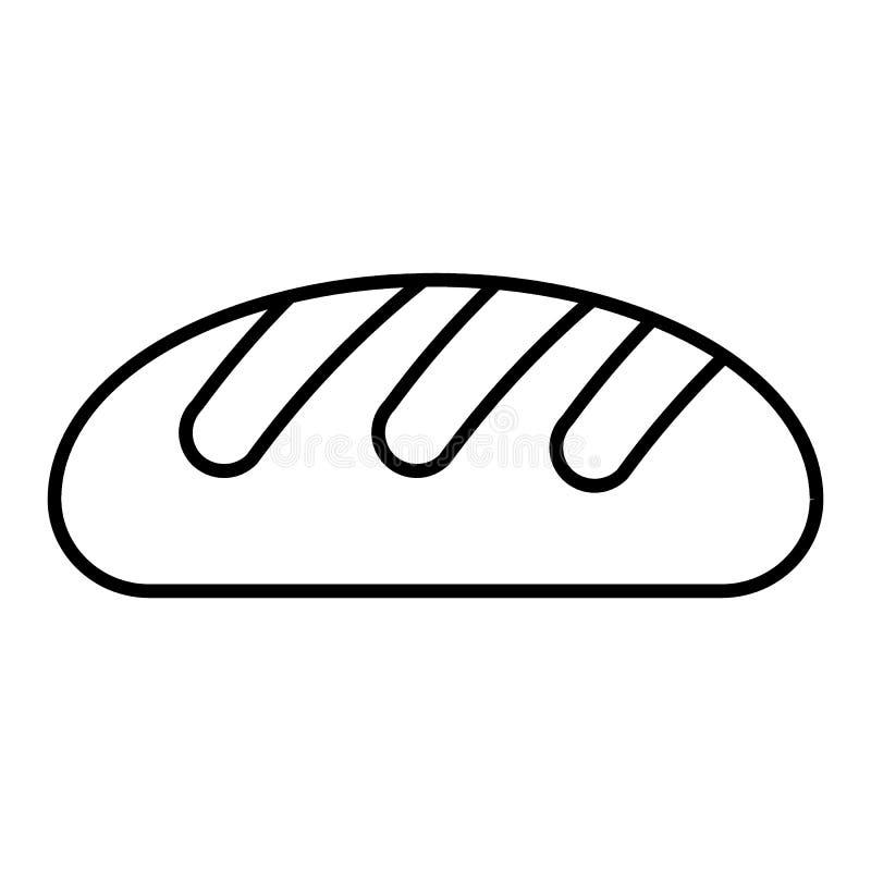 Dun de lijnpictogram van het tarwebrood Brood vectordieillustratie op wit wordt geïsoleerd De stijlontwerp van het bakkerijoverzi vector illustratie