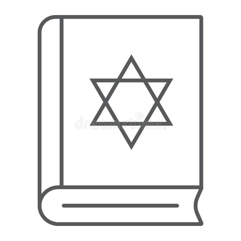 Dun de lijnpictogram van het Torahboek, Israël en godsdienst, Joods boekteken, vectorafbeeldingen, een lineair patroon op een wit vector illustratie