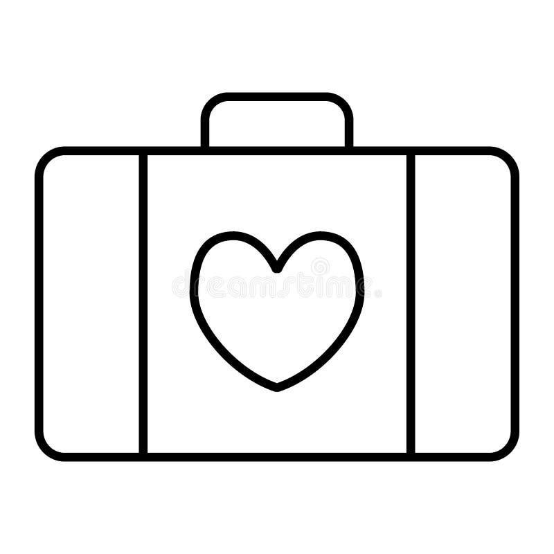 Dun de lijnpictogram van de huwelijksbagage Koffer met hart vectordieillustratie op wit wordt geïsoleerd Het overzichtsstijl van  royalty-vrije illustratie