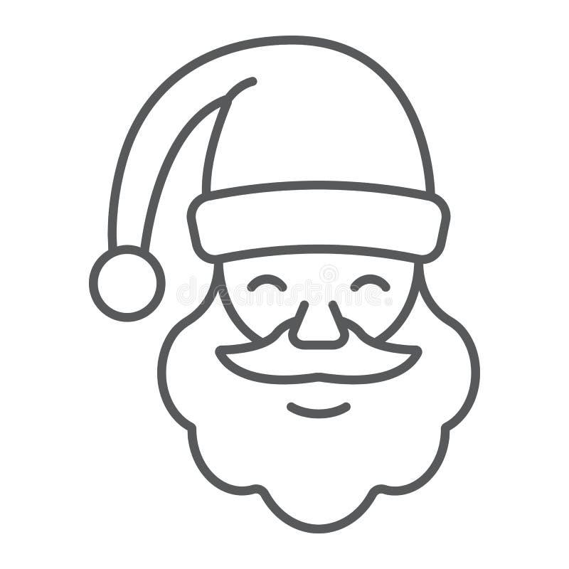 Dun de lijnpictogram van de Kerstman, Kerstmis en karakter, gezichtsteken, vectorgrafiek, een lineair patroon op een witte achter royalty-vrije illustratie