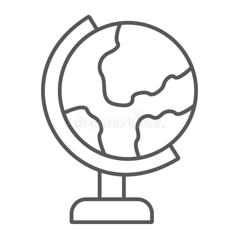 Dun de lijnpictogram van de lijstbol, onderwijs en aardrijkskunde, het teken van de wereldkaart, vectorafbeeldingen, een lineair  stock illustratie