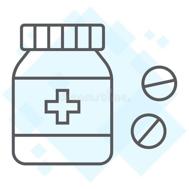 Dun de lijnpictogram van de pillenfles, medisch en gezond royalty-vrije illustratie