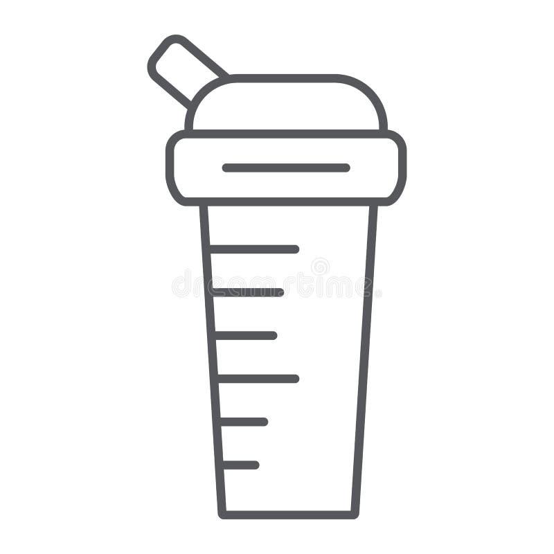 Dun de lijnpictogram van de sportenschudbeker, dieet en drank, containerteken, vectorafbeeldingen, een lineair patroon op een wit royalty-vrije illustratie