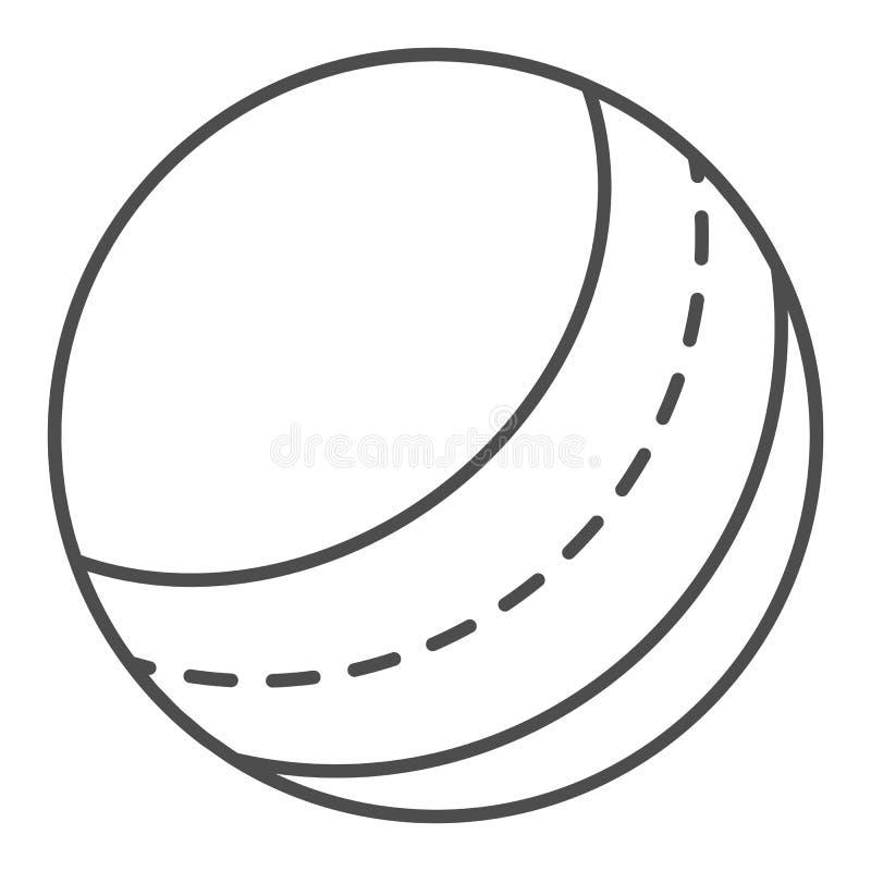 Dun de lijnpictogram van de strandbal Stuk speelgoed vectordieillustratie op wit wordt ge?soleerd Opblaasbaar die de stijlontwerp royalty-vrije illustratie