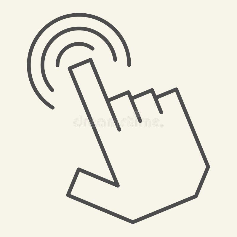 Dun de lijnpictogram van de wijzerhand De vectordieillustratie van de handcurseur op wit wordt geïsoleerd Het ontwerp van de het  royalty-vrije illustratie