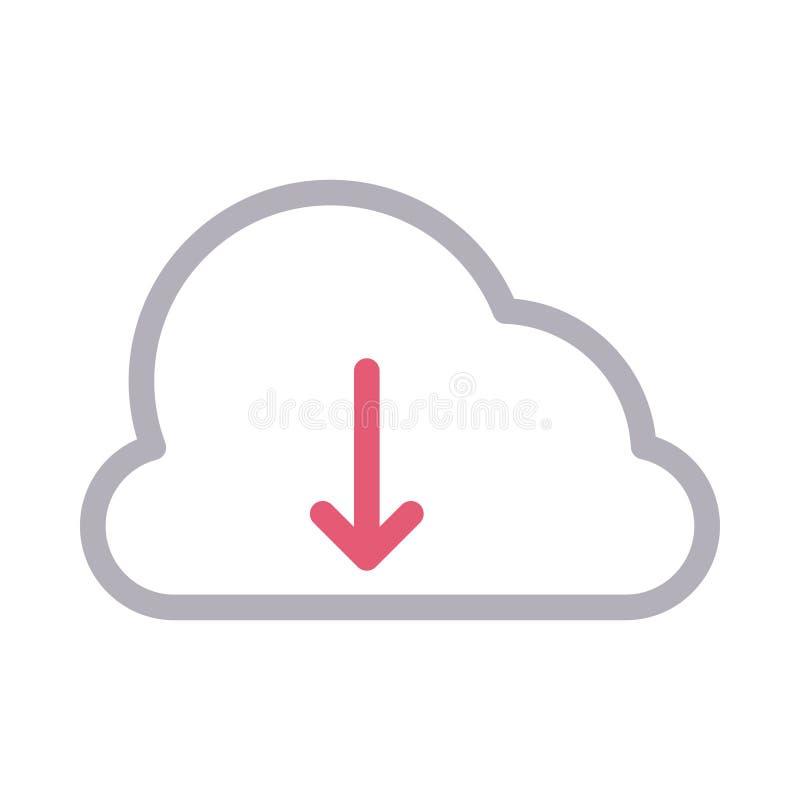 Dun de rassenbarri?re vectorpictogram van de downloadwolk stock illustratie