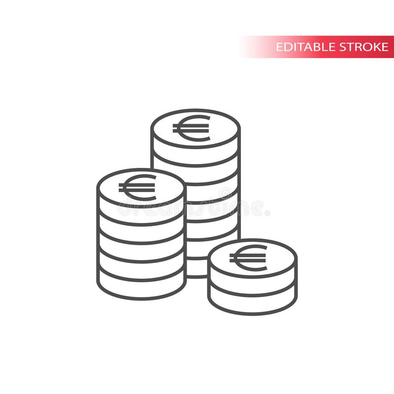 Dun de stapelpictogram van het lijn euro muntstuk Overzicht, editable de stapelspictogram van euromuntstukken royalty-vrije illustratie