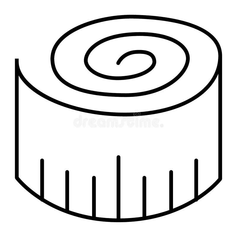 Dun het meten van het pictogram van de Bandlijn Lengte vectordieillustratie op wit wordt geïsoleerd Het de stijlontwerp van het c stock illustratie