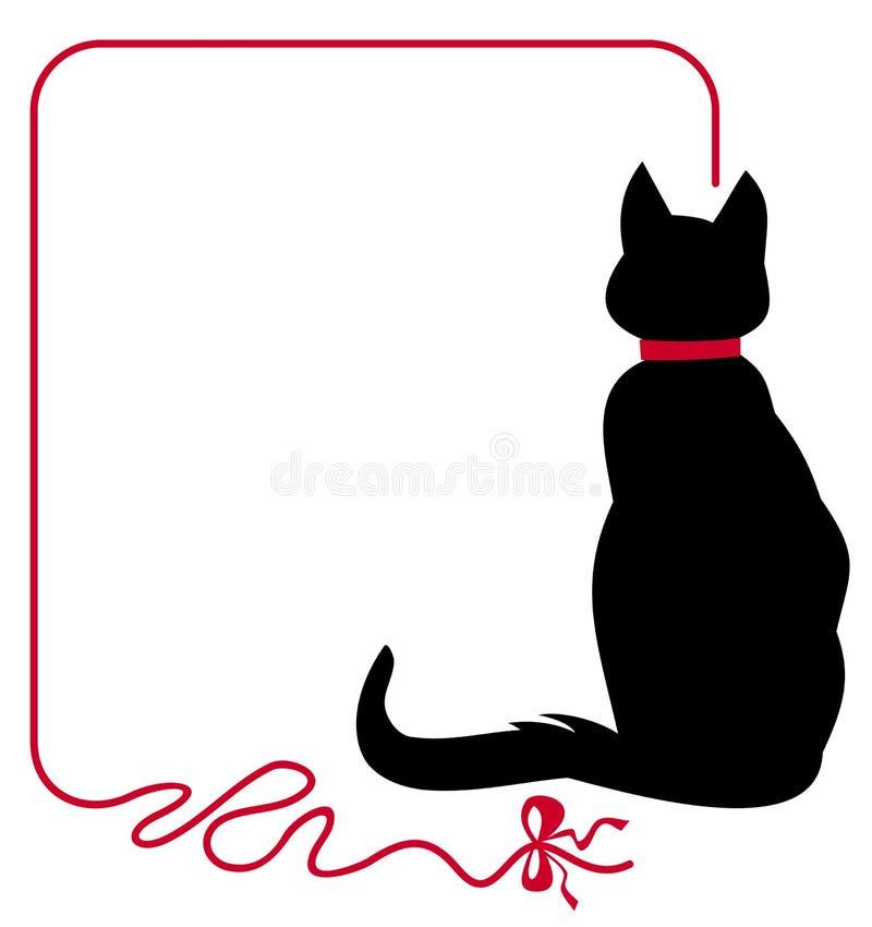 Dun kader met zwarte kat stock illustratie