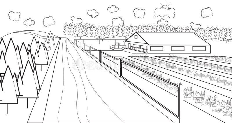 Dun lijn landelijk landbouwbedrijf vector illustratie