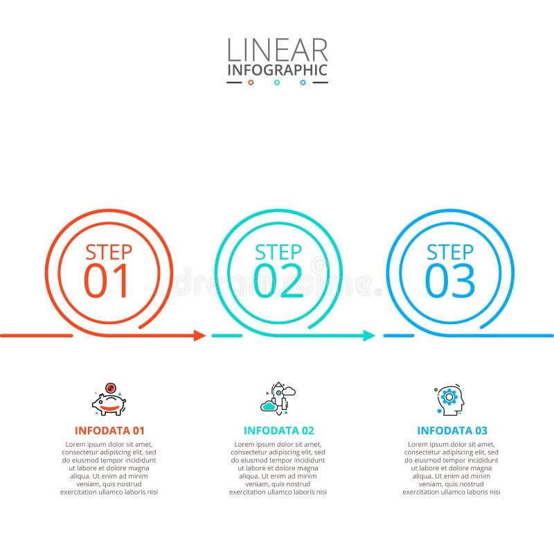 Dun lijn vlak element voor infographic Malplaatje voor diagram, grafiek, presentatie en grafiek Bedrijfsconcept met 3 stock fotografie