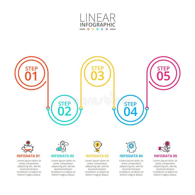 Dun lijn vlak element voor infographic Malplaatje voor diagram, grafiek, presentatie en grafiek Bedrijfsconcept met 5 royalty-vrije stock afbeelding