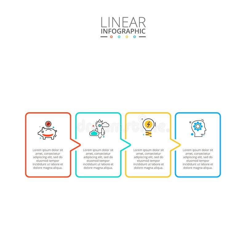 Dun lijn vlak element voor infographic Malplaatje voor diagram, grafiek, presentatie en grafiek Bedrijfsconcept met 4 stock foto