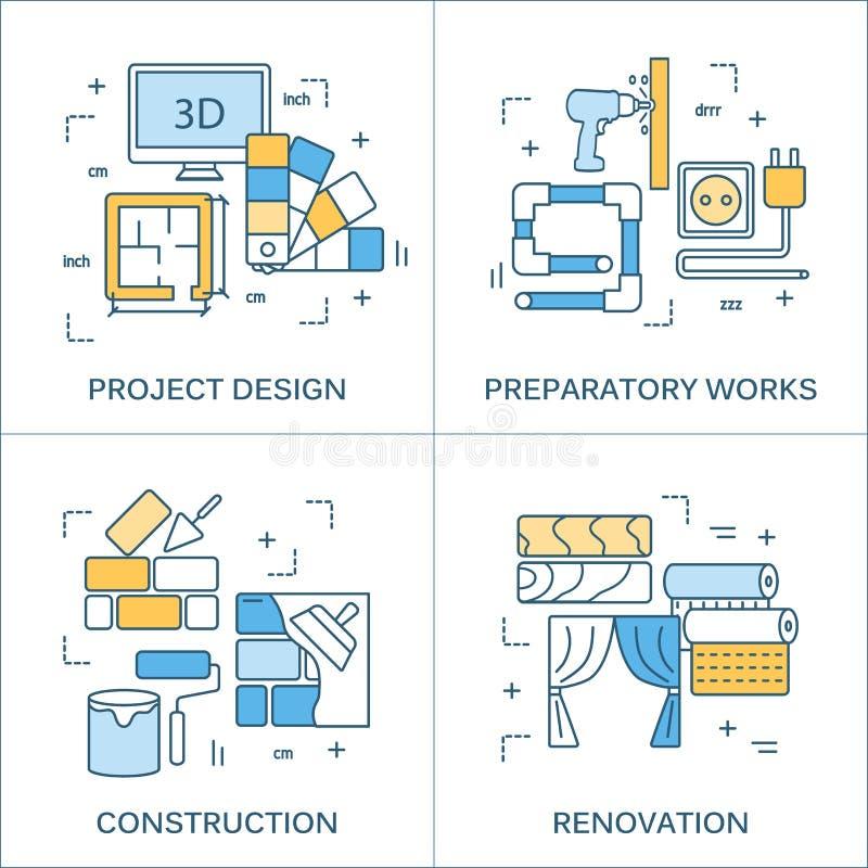 Dun lijn vlak ontwerp van bouwhulpmiddelen stock illustratie