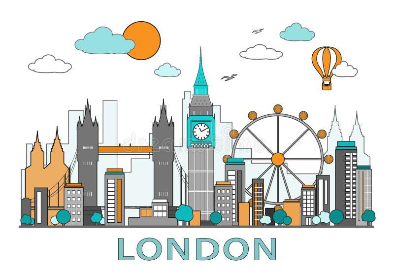 Dun lijn vlak ontwerp van de stad van Londen Moderne geïsoleerde de horizon vectorillustratie van Londen, vector illustratie