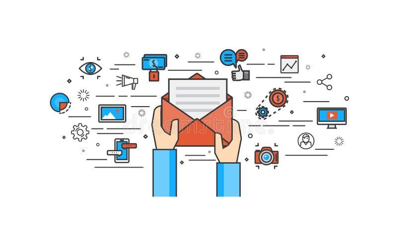 Dun lijn vlak ontwerp van E-mail marketing royalty-vrije stock fotografie