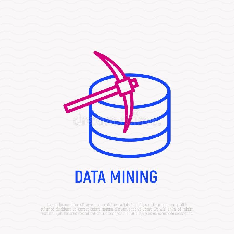 Dun lijnpictogram voor het exploiteren van gegevens: pikhouweel en server stock illustratie