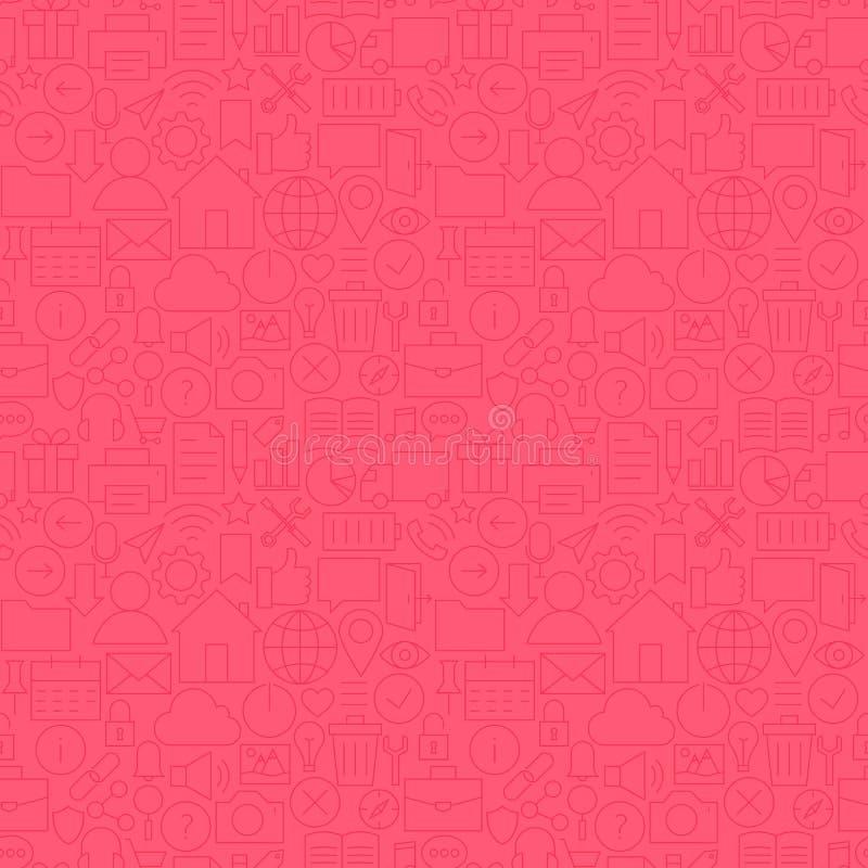 Dun Mobiel het GebruikersinterfaceNaadloos Roze Patroon van de Lijnwebsite vector illustratie