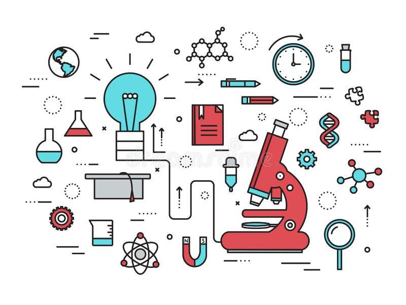 Dun modern de illustratieconcept van het lijn wetenschappelijk idee Infographicmanier van het denken van het idee aan het onderzo royalty-vrije illustratie