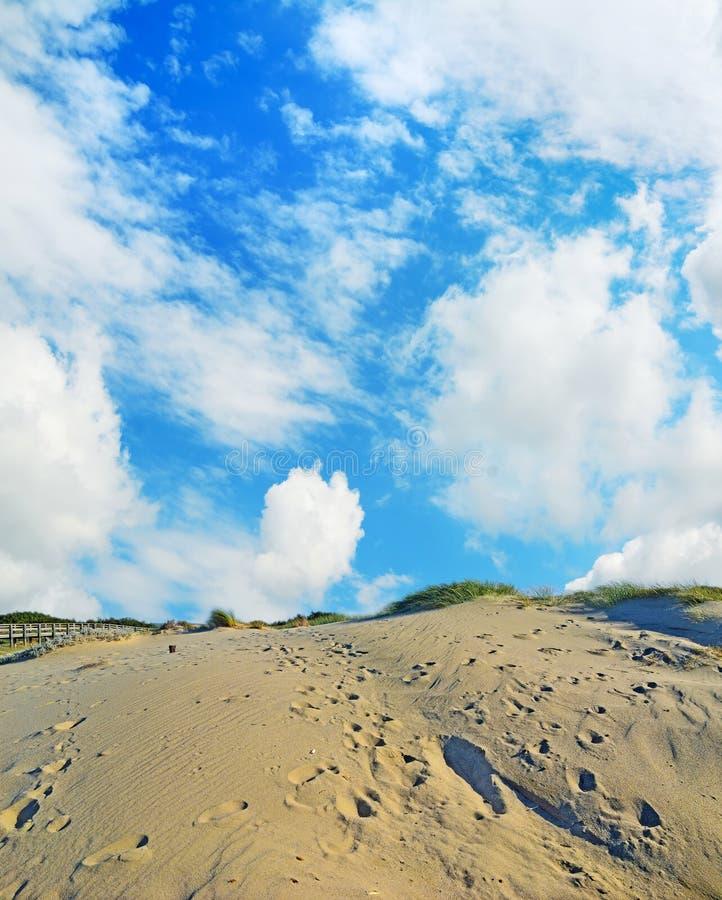 Duna de areia sob um céu nebuloso imagens de stock