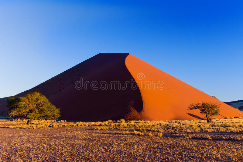 Duna de la puesta del sol en el desierto de Namib, Suráfrica fotos de archivo