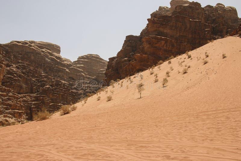 A duna e as montanhas vermelhas da garganta de Wadi Rum abandonam em Jorda imagem de stock