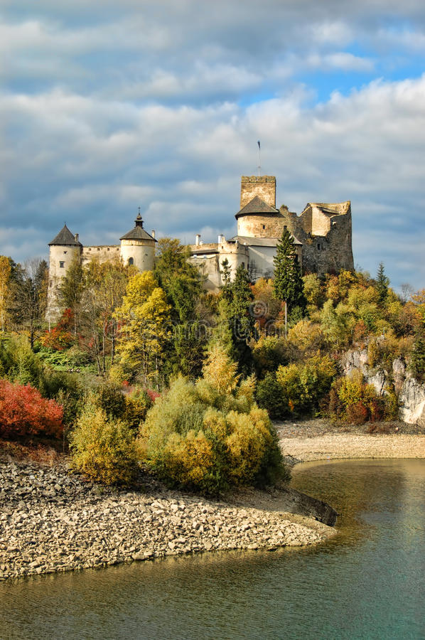 Dunajec castle. Medieval Dunajec castle in Niedzica in fall time, Poland stock photos