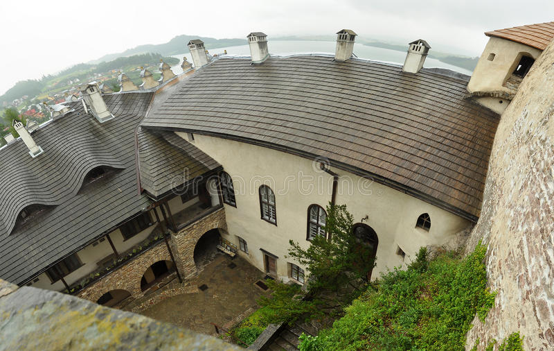 Dunajec castle. In Poland (also known as Niedzica Castle), interior photo taken from roof royalty free stock photos