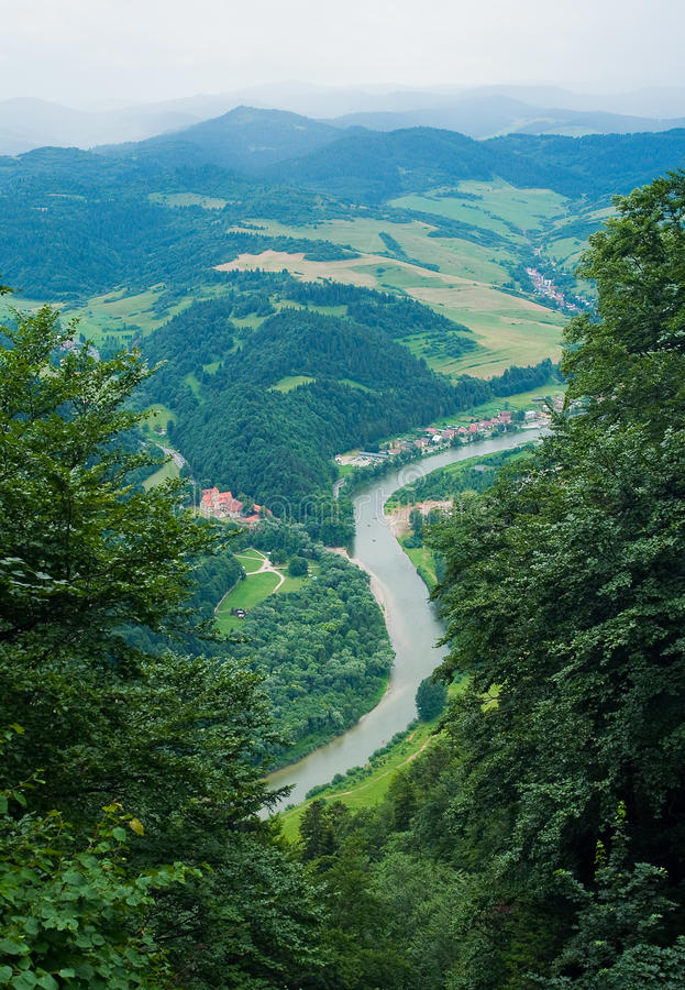 Dunajec river. Viewed from Three Crowns hill in Poland. Slovakia is on the other side of the river royalty free stock photos