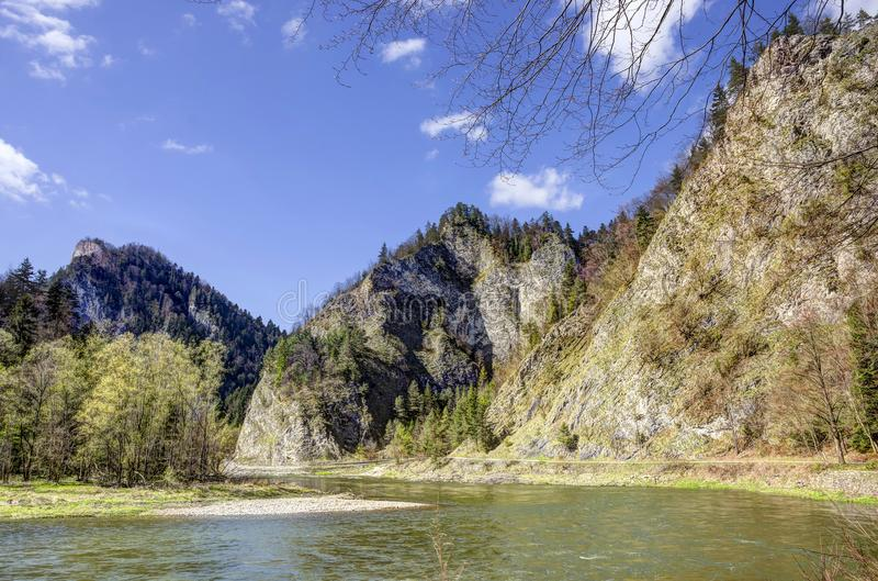Dunajec river gorge in spring stock photo