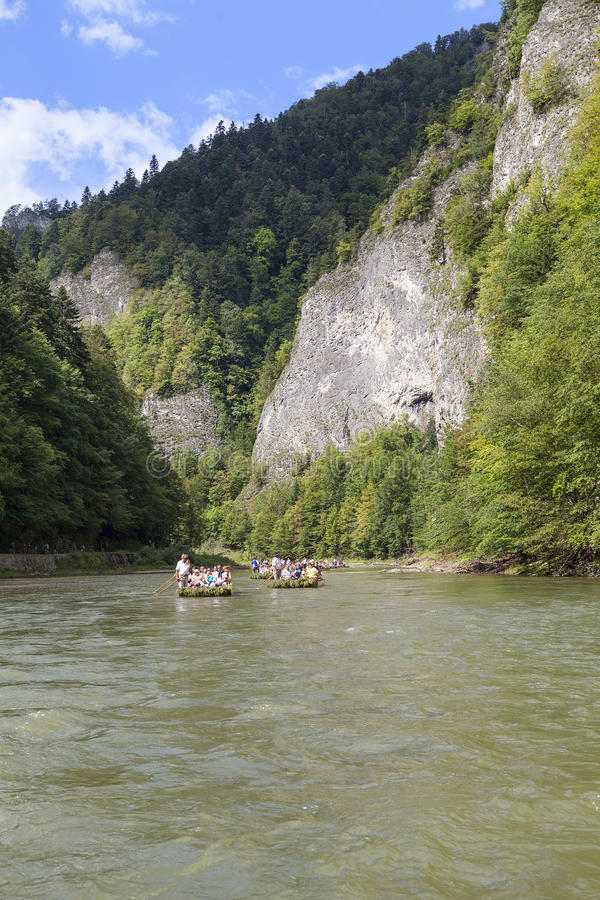 Dunajec River Gorge . View from boat rafting. stock photos