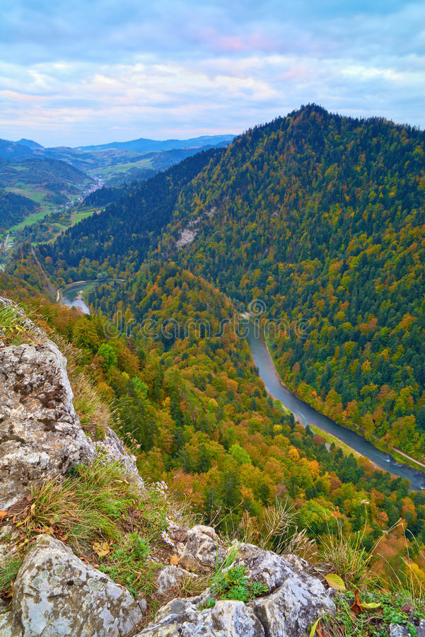 The Dunajec River Gorge. View from The Sokolica Mo stock image