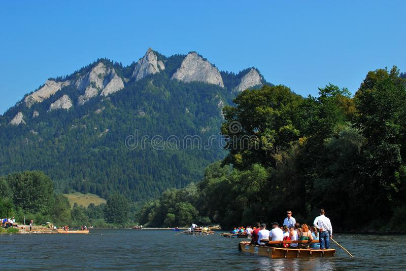 Dunajec river. In Pieniny Mountains in the Poland stock photography