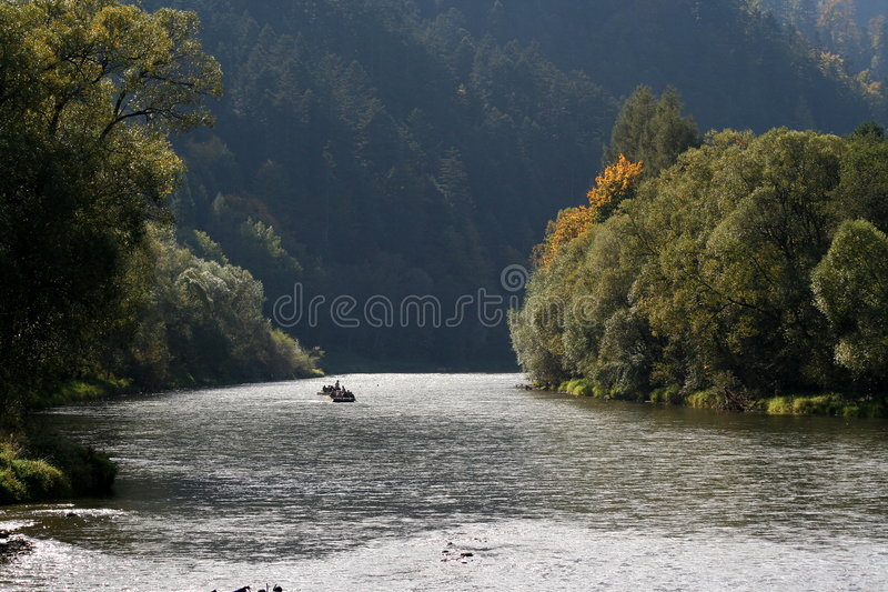 Dunajec River, Poland. Boating on a river in autumn, Pieniny Mts., Poland stock photos
