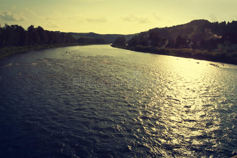 Dunajec river. Sunset over Dunajec River (Slovakia and Poland border) - vintage effect stock photo