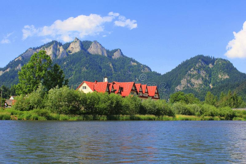 Dunajec river and Three Crowns peak in Pieniny mountains at summer, Poland.  stock images