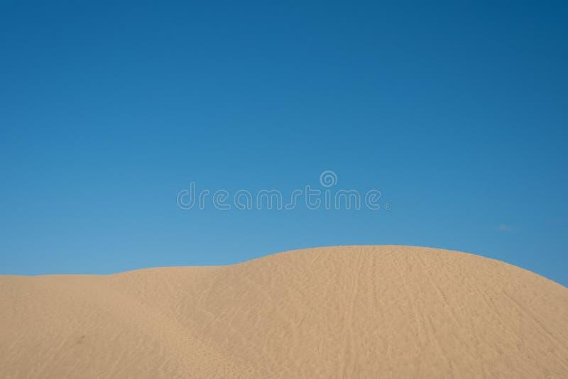 Dunas de areia bonitas contra o fundo brilhante do céu azul imagens de stock