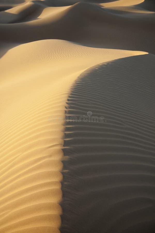 Dunas de areia do deserto com sombras escuras. imagens de stock