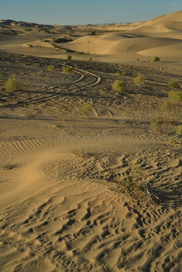 Dunas de areia na área recreacional imperial das dunas de areia, Califórnia fotografia de stock