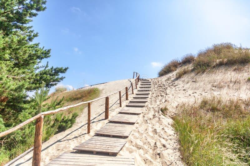 Dunas de arena blancas, Nida, Lituania Paisaje hermoso con el azul imágenes de archivo libres de regalías