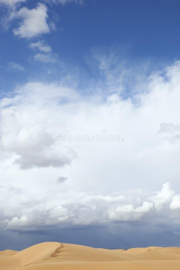 Dunas de arena del desierto con el cielo azul nublado. fotos de archivo libres de regalías