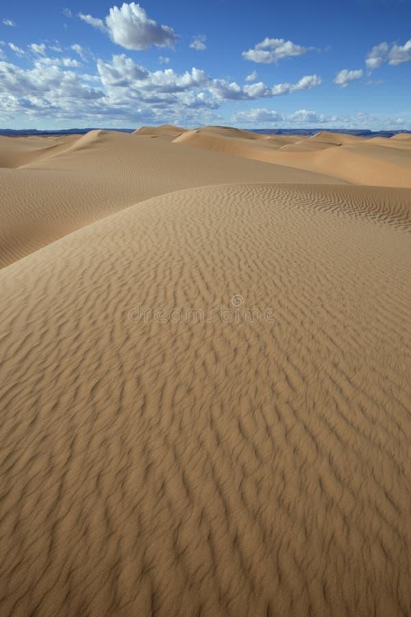 Dunas de arena del desierto del Sáhara con el cielo azul nublado. fotos de archivo
