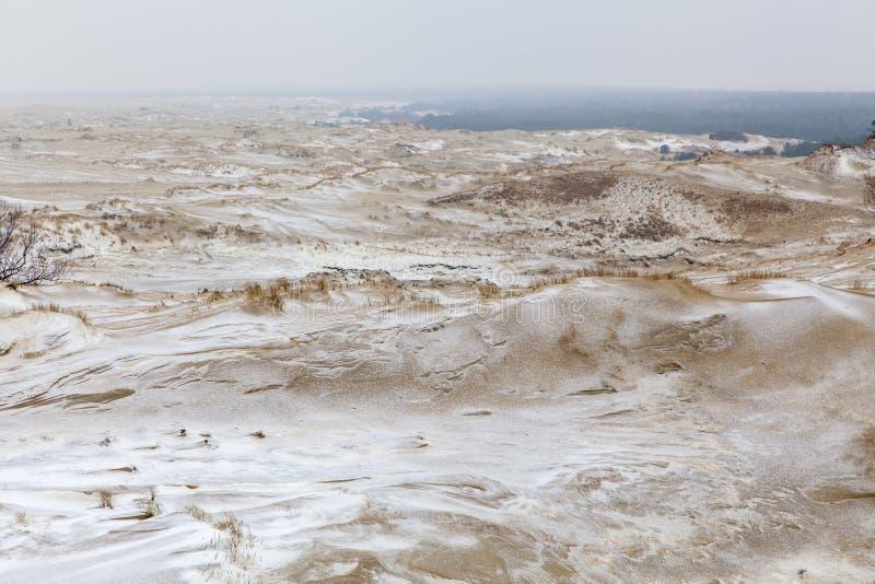 Dunas de arena nevadas foto de archivo libre de regalías