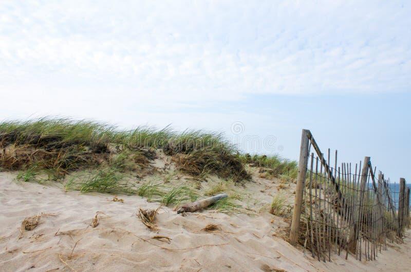Dunas e hierba del mar y una cerca de bambú de la barricada para controlar la deriva de la arena en Cape Cod imagen de archivo libre de regalías