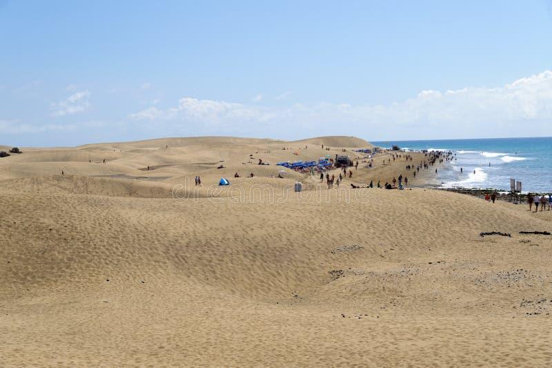 Dunas. The great desert Dunas de Maspalomas in Gran Canary stock photo